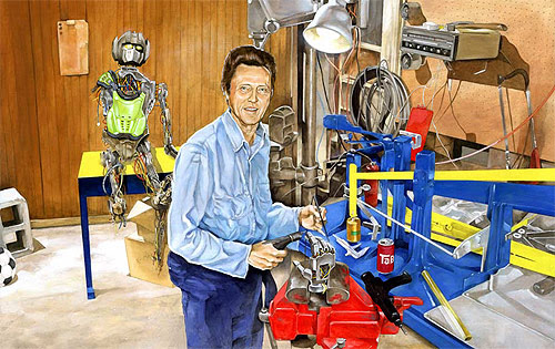 christopher walken robot painter painting brandon bird