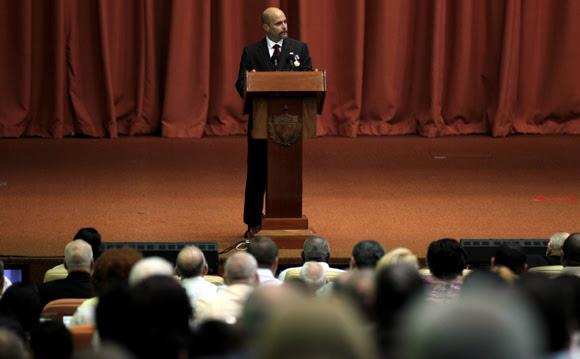 Gerardo Hernández habló en nombre de sus compañeros.  Foto: Ladyrene Pérez/ Cubadebate.