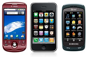 T-Mobile's MyTouch, left, Apple's iPhone, and the Samsung Impression.