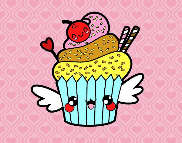 Dibujo De Cupcake Kawaii Con Cereza Pintado Por Ayace En Dibujosnet