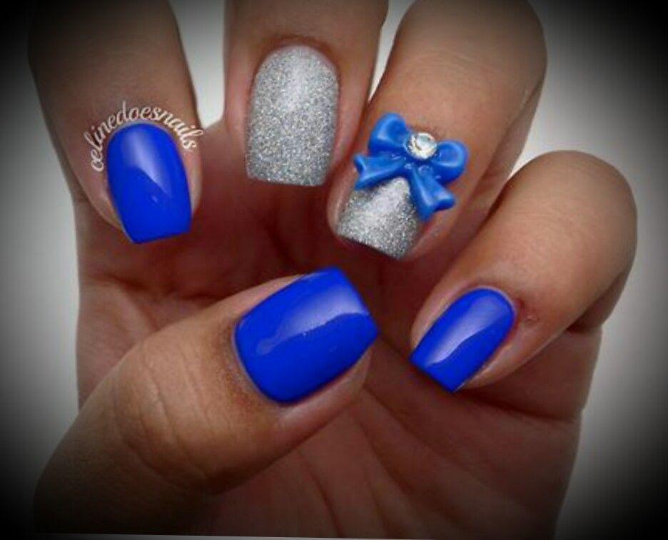 Royal Blue Nails Can You Say Glitter Pinterest Nail Art Design