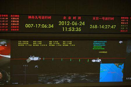 Thần Châu 9 và Thiên Cung 1 trước khi thực hiện cuộc nối ghép có người điều khiển.