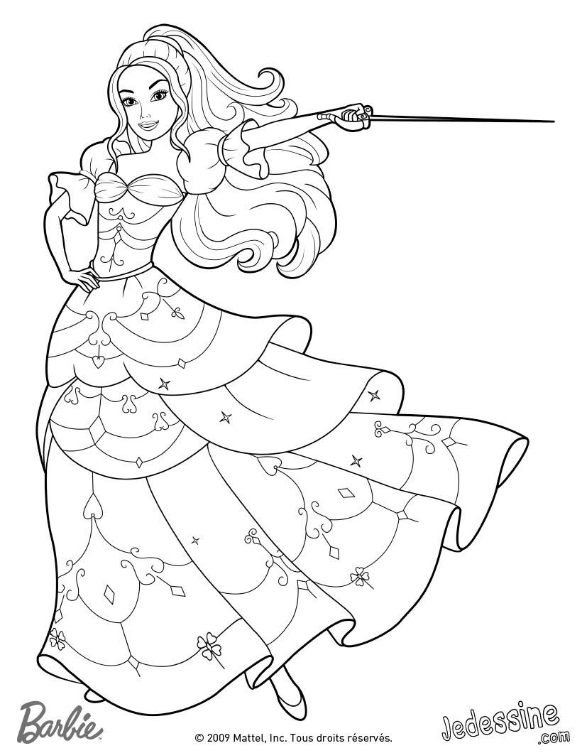 Coloriage de Corinne en robe de bal avec son épée Coloriage Coloriage BARBIE