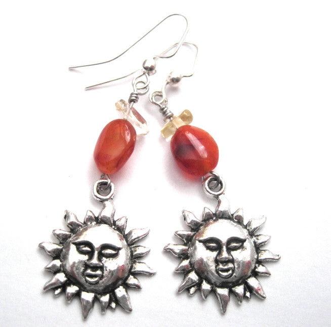 Sun Charm Dangle Earrings Carnelian Citrine