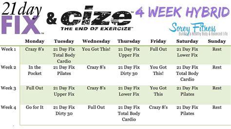 day fix cize hybrid workout calendar sorey fitness