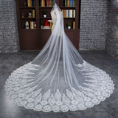 3.8 Meters Long Wedding Veils, Cheap Beige Lace Wedding