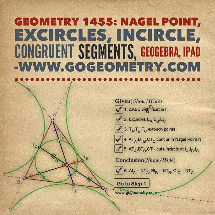 Geometry Problem 1455: Nagel Point, Excircles, Incircle, Congruent Segments.
