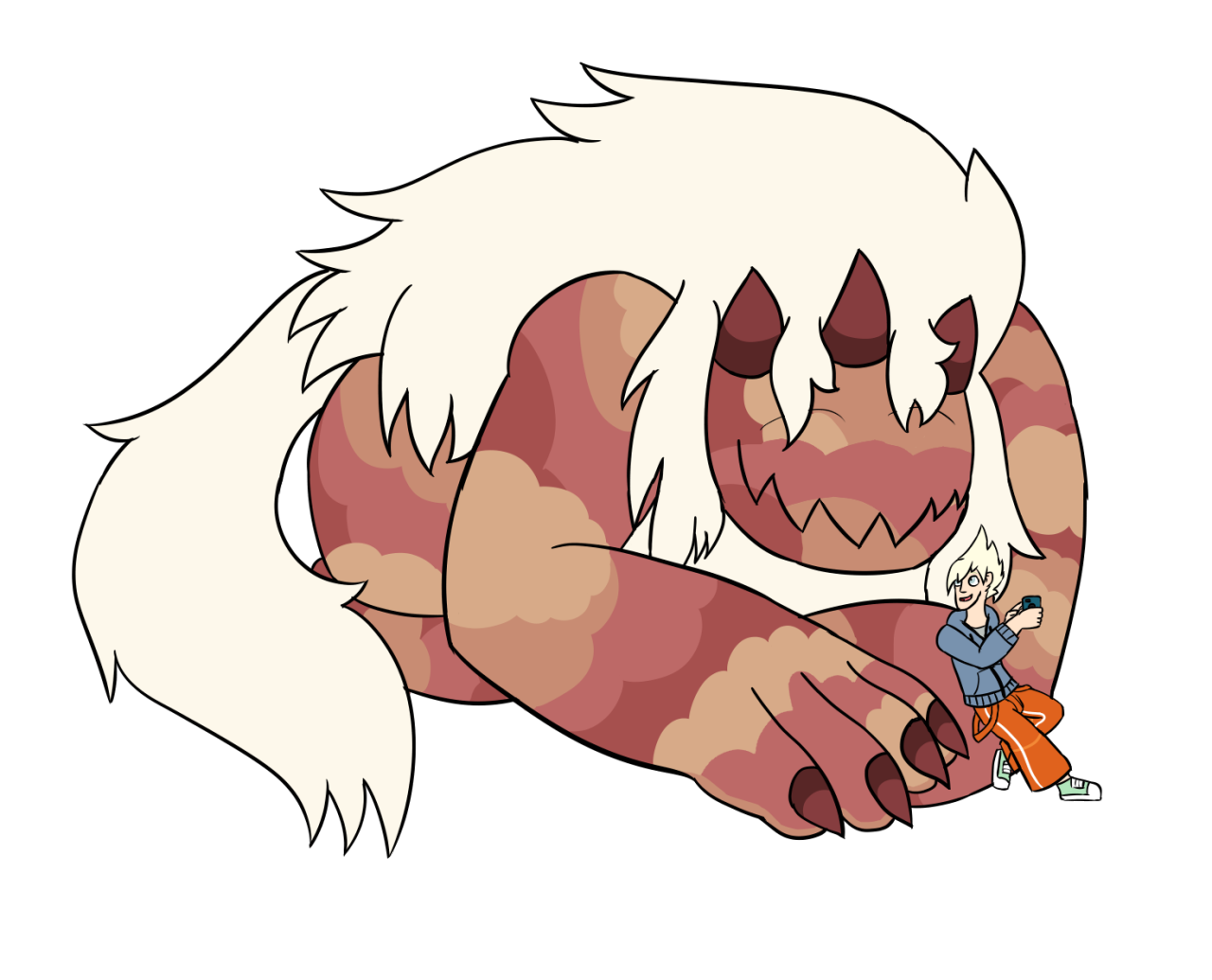 """just a silly idea I got from leaks before I saw Crack the Whip I love the whole """"local teen befriends giant monster"""" scenario"""