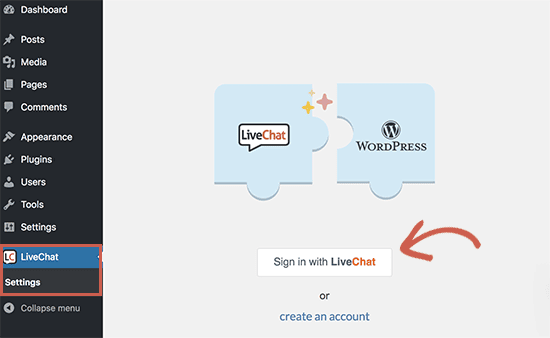 Connect Live Chat to your WordPress site