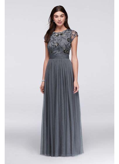 Beaded Cap Sleeve Dress with Tulle Skirt   David's Bridal