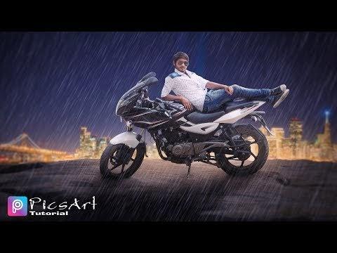 PicsArt Rain Effect Manipulation Tutorial :: Bike and Boy rain  effects