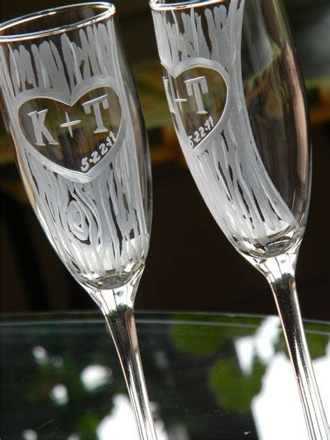 Champagne Glasses with Hand Carved Tree and Heart Design