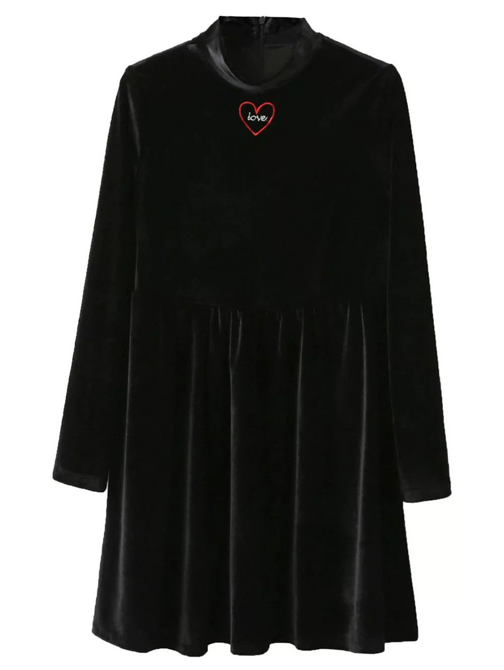 Mock Neck Velvet Flare Dress - BLACK S