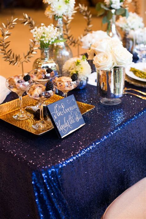 Elegant & Sparkly Barn Wedding Ideas in Gold & Blue