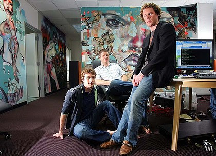 From left: Mark Zuckerberg, Dustin Moskovitz and Sean Parker at Facebook headquarters in Palo Alto, California.