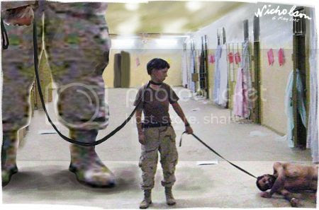 'Lynndie England Abu Ghraib torture Iraq 450,' by Peter Nicholson