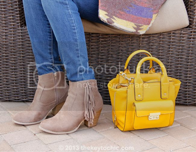 Wet Seal fringe boots, Phillip Lim for Target yellow mini satchel