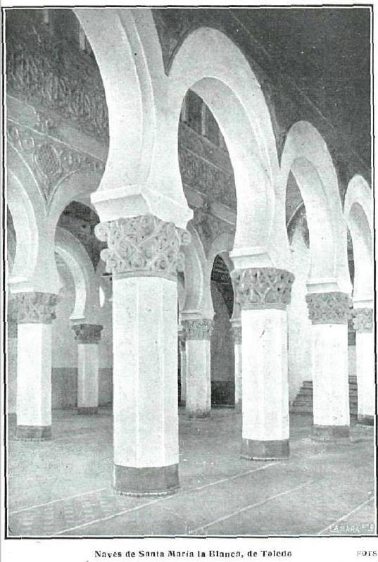 Sinagoga de Santa María la Blanca. Fotografía de Kurt Hielscher publicada en La Esfera en junio de 1916