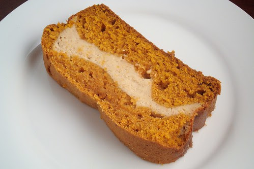 Pumpkin Bread with Cinnamon Cheesecake Layer