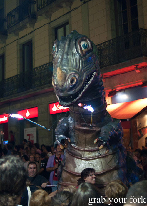Dinosaur at La Merce 2013 Parade of Fire Breathing Dragons
