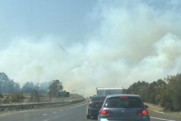 Traffic backed up on Hume Highway at Paddys River due to grassfire