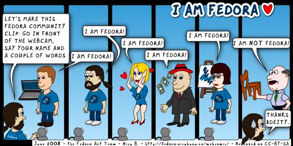 [fedora webcomic: i am fedora]