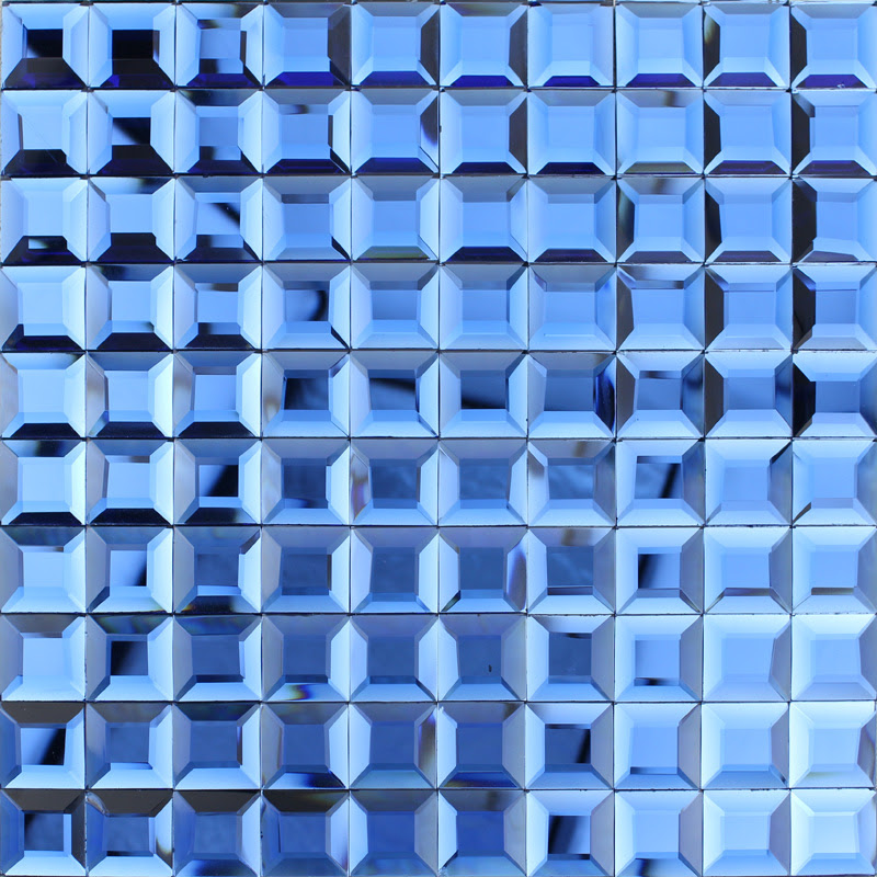Blue glass mosaic tile backsplash pyramid 3d shower wall ...