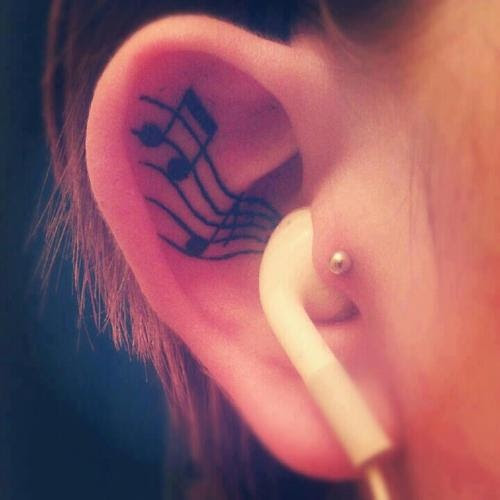 Inside Ear Tattoo Musical Note Tattoomagz