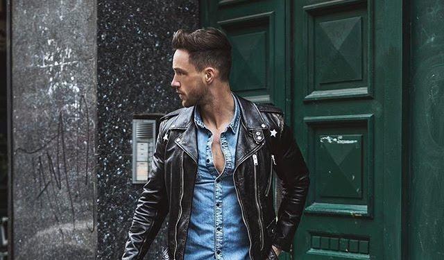 Street Style Men Black Leather Jacket