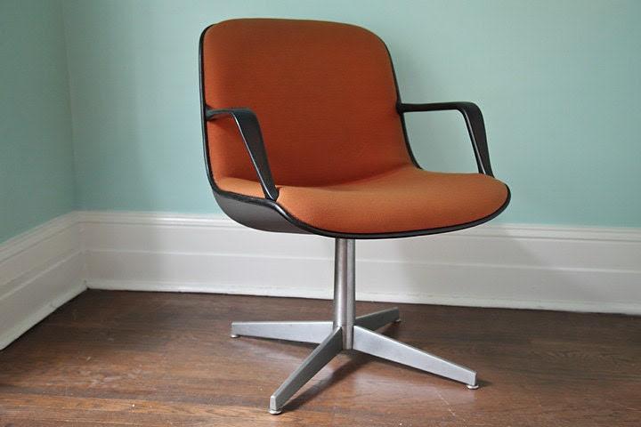 office chair mid century modern orange by VintageChicFurniture