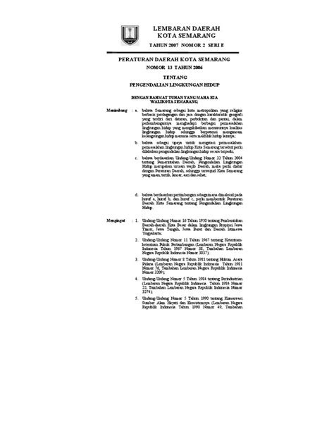 Perda Kota Semarang No.13 Tahun 2006 Tentang Pengendalian