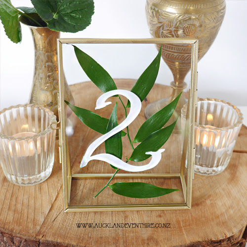 Gold Glass Frame Table Numbers Auckland Event Hire