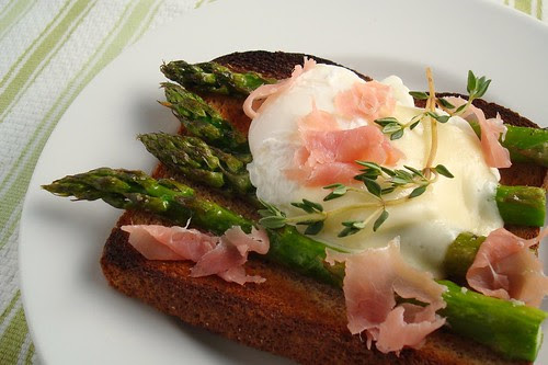 Asparagus, Poached Egg, Prosciutto, and Fontina Cheese Sandwich