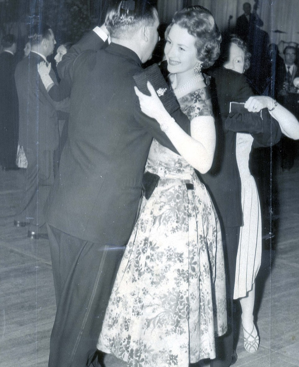 Raine, Comtesse de Chambrun, is pictured dancing with councillor D.W. Bromfield of Finsbury in an undated photo