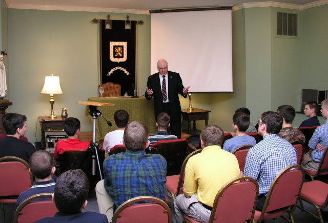 Jeremiah Wells giving a meeting to young men during a TFP Summer Camp in Spring Grove, Penn.