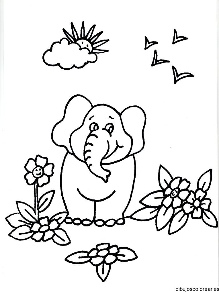 Dibujo De Un Elefante Entre El Jardín