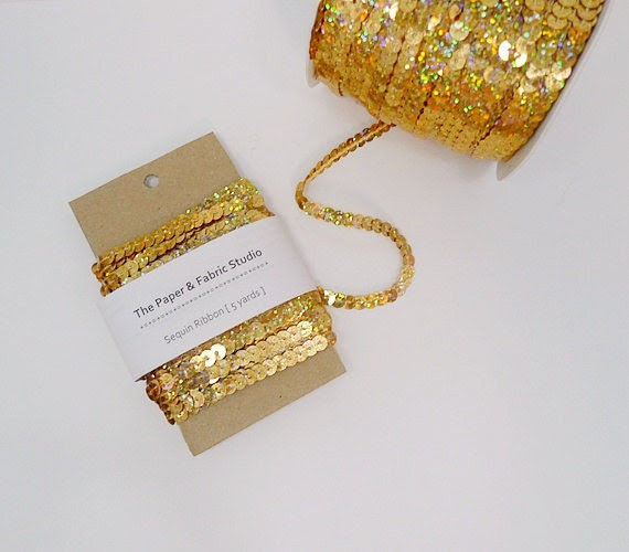 5 yards Sequin Ribbon, Sequin Trim - Gold - PaperFabricStudio