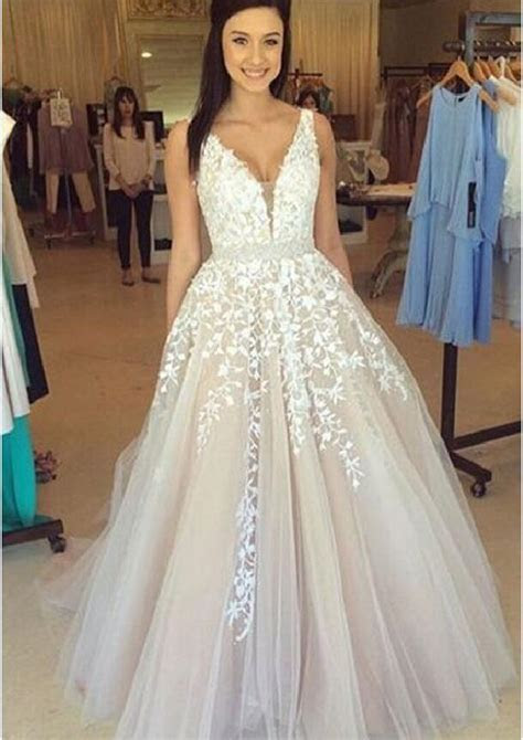 Off shoulder lace Prom dress, A line prom dresses, 2017