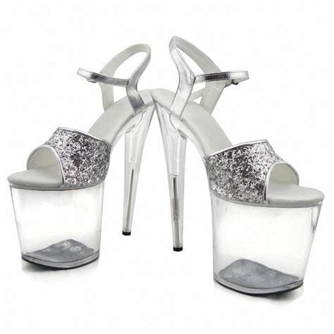 Gorgeous gold/silver glitter high heels 8 inch white