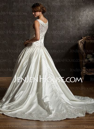 Ball Gown V neck Chapel Train Satin Wedding Dress With