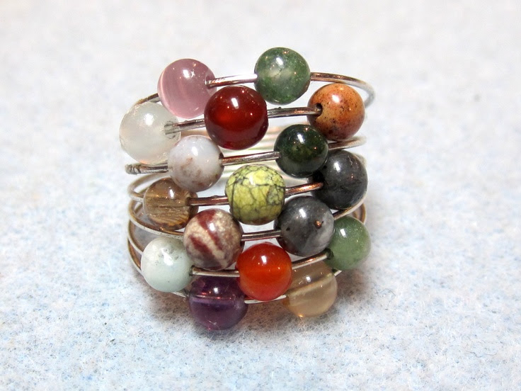 Gemstone memory wire ring