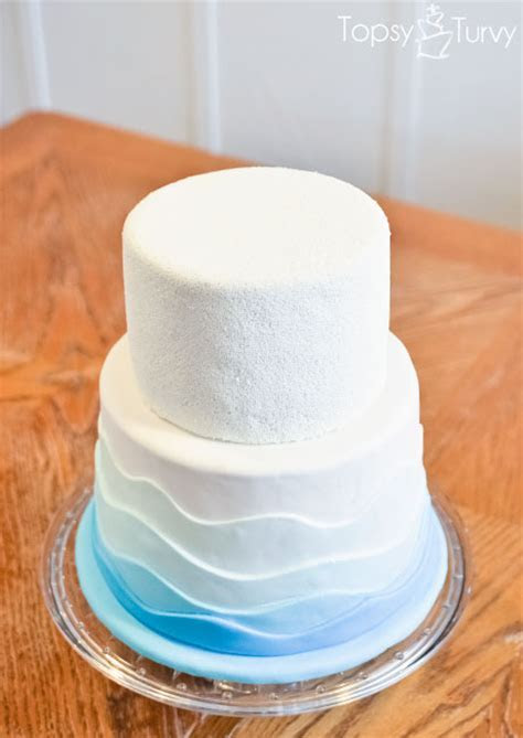 Nonpareil & fondant waves cake   pool party   Ashlee Marie