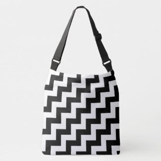 All-Over-Print Black and White Diagonal Zigzags Tote Bag