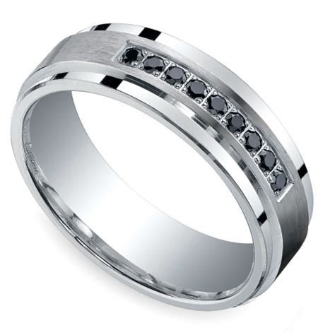 Black Diamond Men's Silver Wedding Ring   Image 01