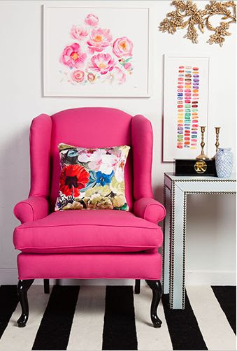 Flat weave Frontier rug in black and white stripes really lets this hot pink wingback chair POP! (FT-295)