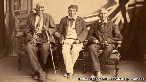 Three native men who fought with the British, photographed in 1882