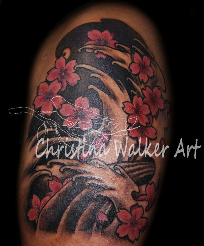 Pictures Of Japanese Wave And Flower Tattoos Kidskunstinfo