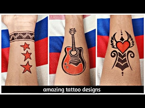 Amazing tattoo designs of guitar | flying heart | hand band with star