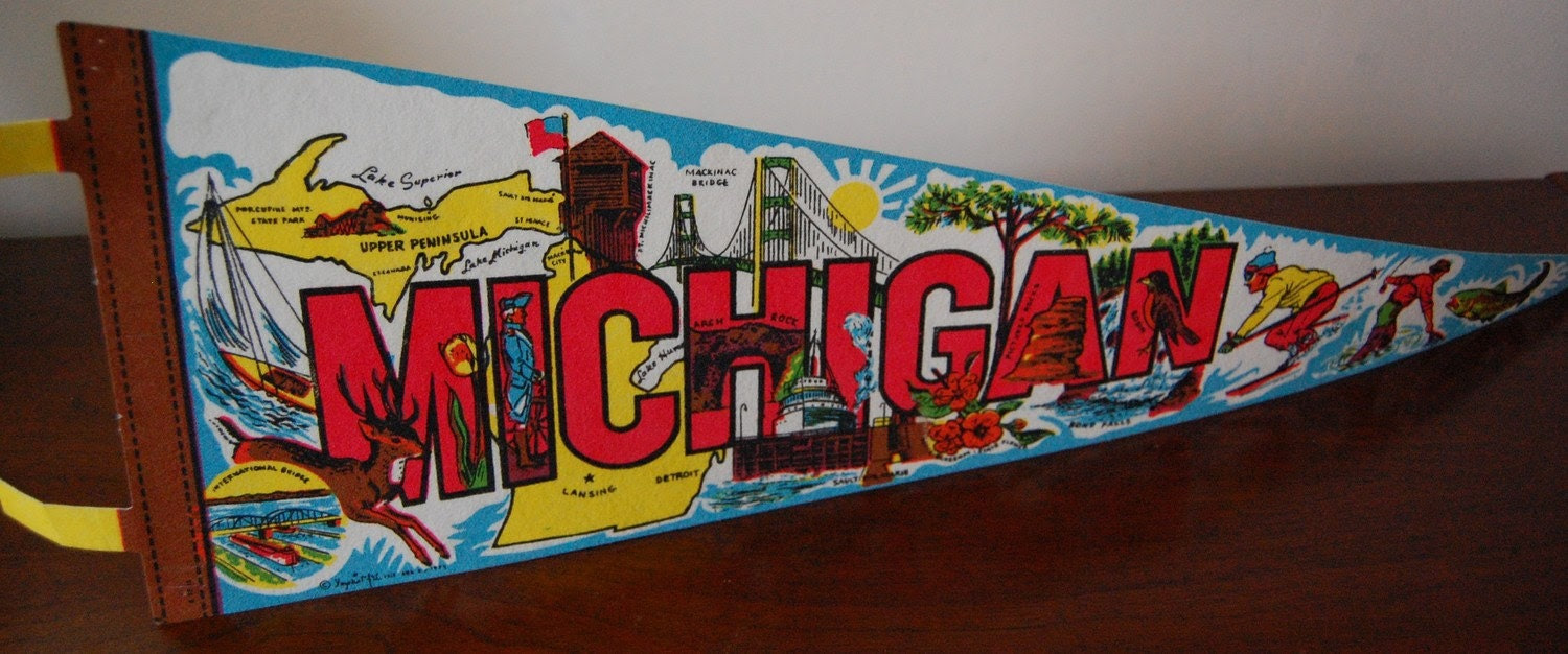 Vintage MICHIGAN Colorful Wall Pennant SALE
