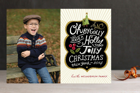 Holly Jolly Wishes Christmas Photo Cards